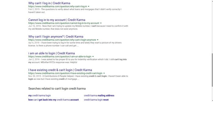 I can't login into my credit Karma account - Google results